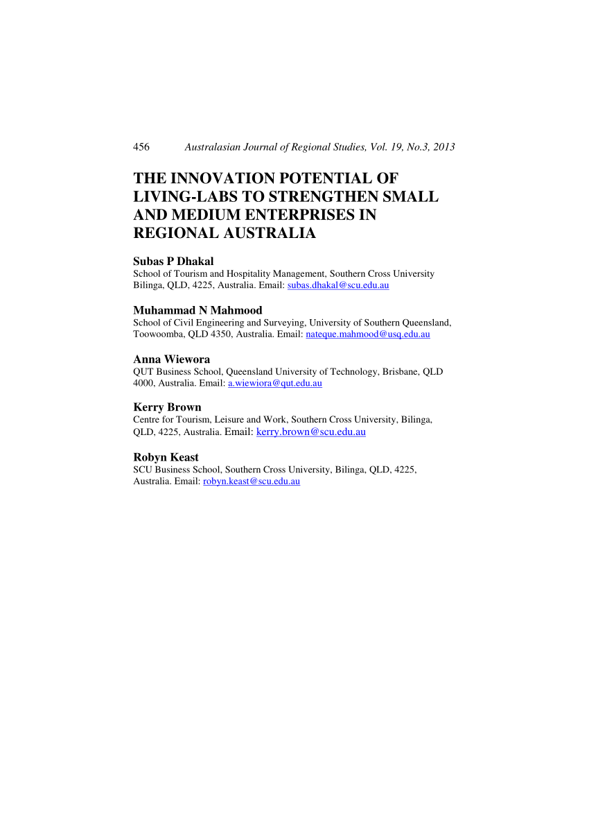 Regional Australia Pdf The Innovation Potential Of Living Labs To Strengthen Small