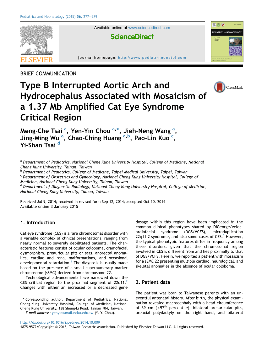 Mca Schwinger Arco Ii Phenotypic Variability Of Cat Eye Syndrome Request Pdf