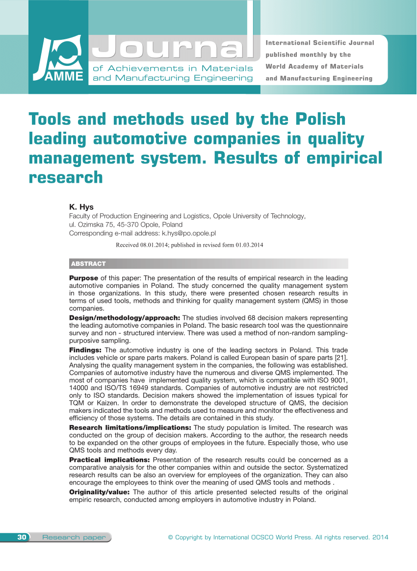 Advanced Solutions For Growing Companies Mmk Systems Pdf Tools And Methods Used By The Polish Leading Automotive