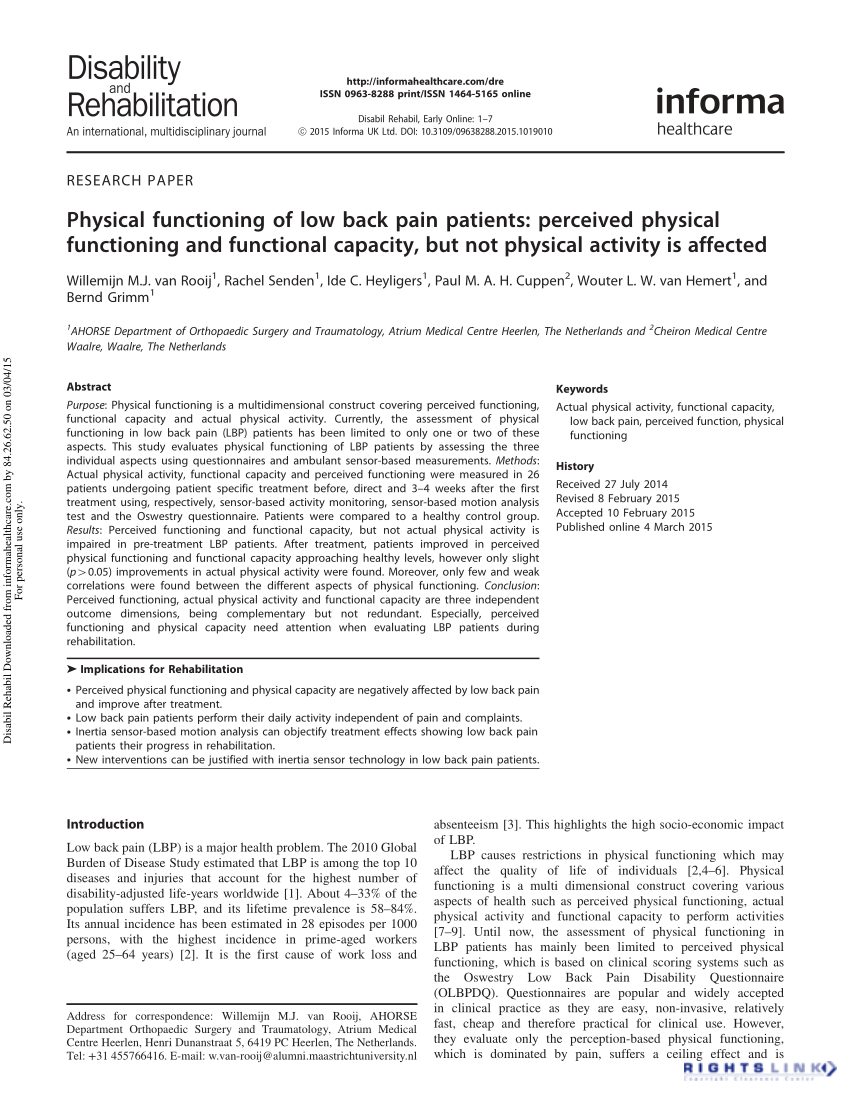 Cuppen Waalre Pdf Physical Functioning Of Low Back Pain Patients Perceived
