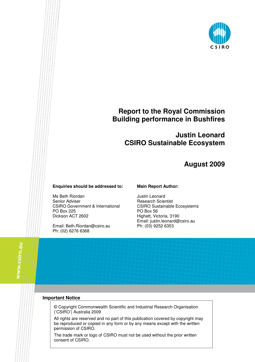 But Lit Japp Blanc Pdf Report To The Royal Commission Building Performance In Bushfires