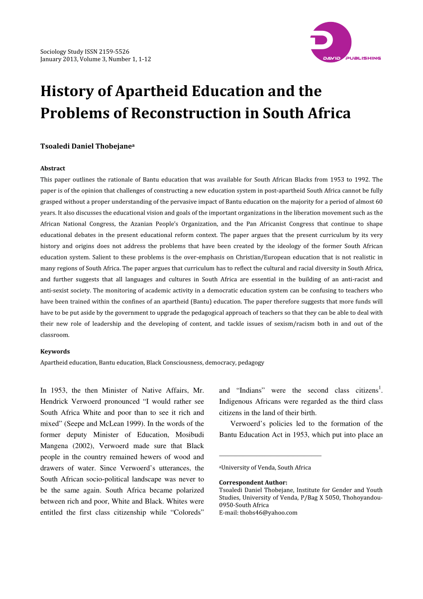 Pdf History Of Apartheid Education And The Problems Of - Study Online In South Africa