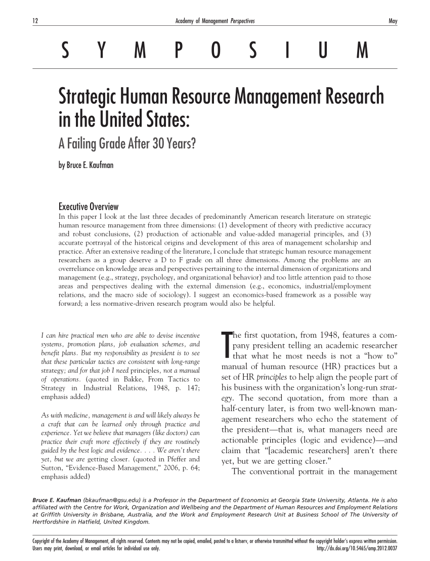 Strategic human resource management research in the united states a failing grade after 30 years pdf download available