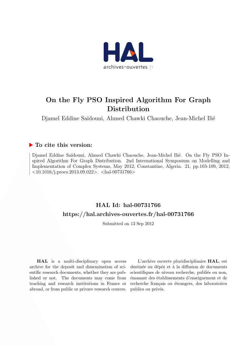 Fly Creteil Pdf On The Fly Pso Inspired Algorithm For Graph Distribution