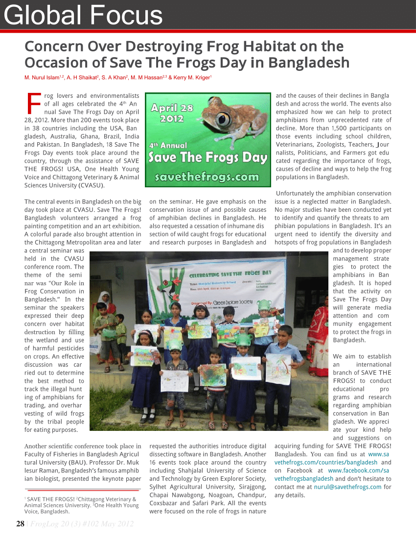 Table Habitat Occasion Pdf Concern Over Destroying Frog Habitat On The Occasion Of Save