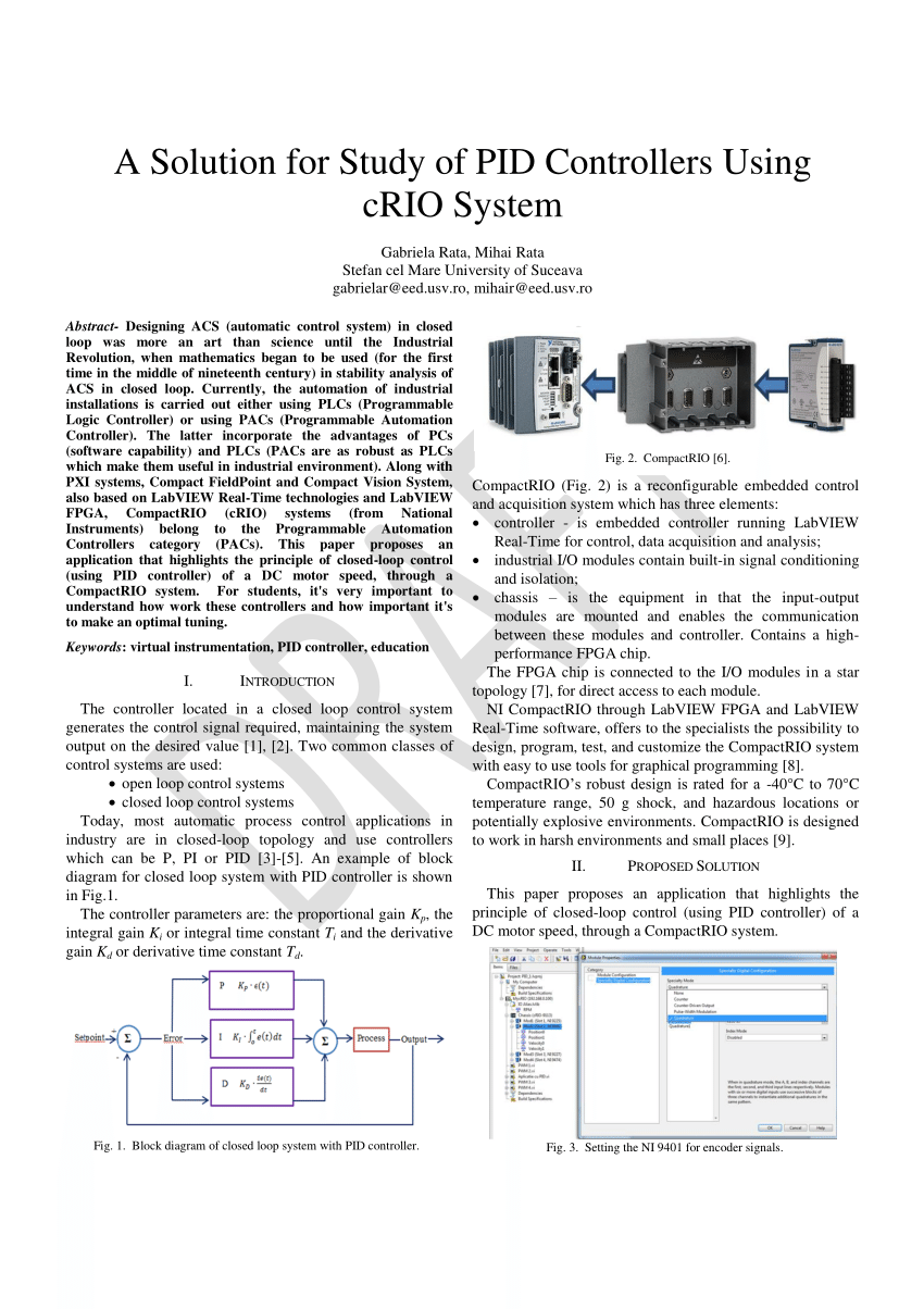 Compactrio System On Module Pdf A Solution For Study Of Pid Controllers Using Crio System