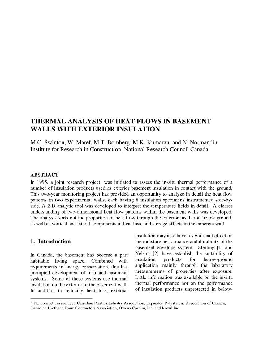 Isolation Extérieure Urethane Pdf Performance Of Thermal Insulation On The Exterior Of Basement
