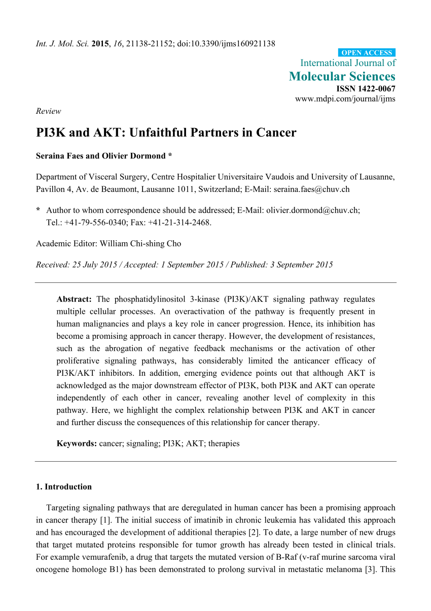 Pavillon Ranke Pdf Pi3k And Akt Unfaithful Partners In Cancer