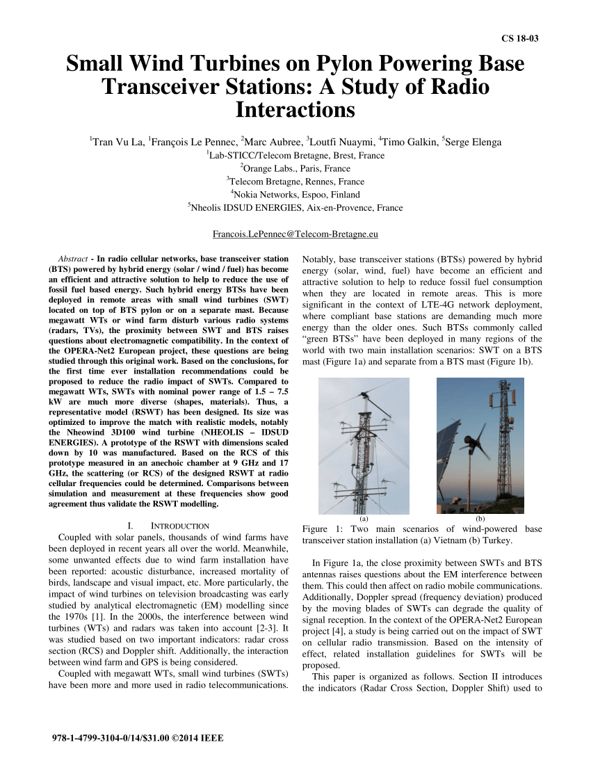 Location Nacelle Brest Pdf Small Wind Turbines On Pylon Powering Base Transceiver
