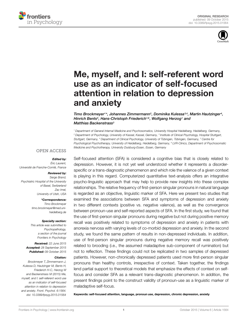Do It Yourself Werkstatt Duisburg Pdf Me Myself And I Self Referent Word Use As An Indicator Of