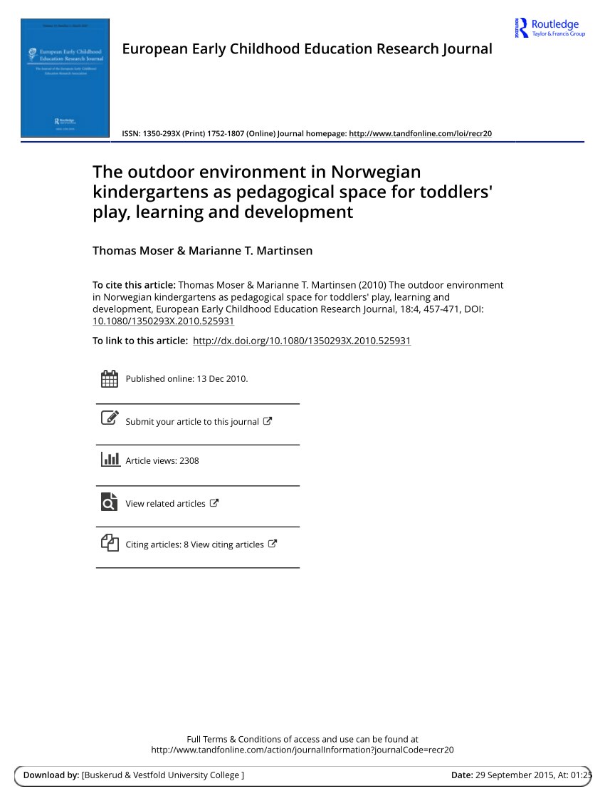 Durchschnittsgröße Kinder Pdf The Outdoor Environment In Norwegian Kindergartens As