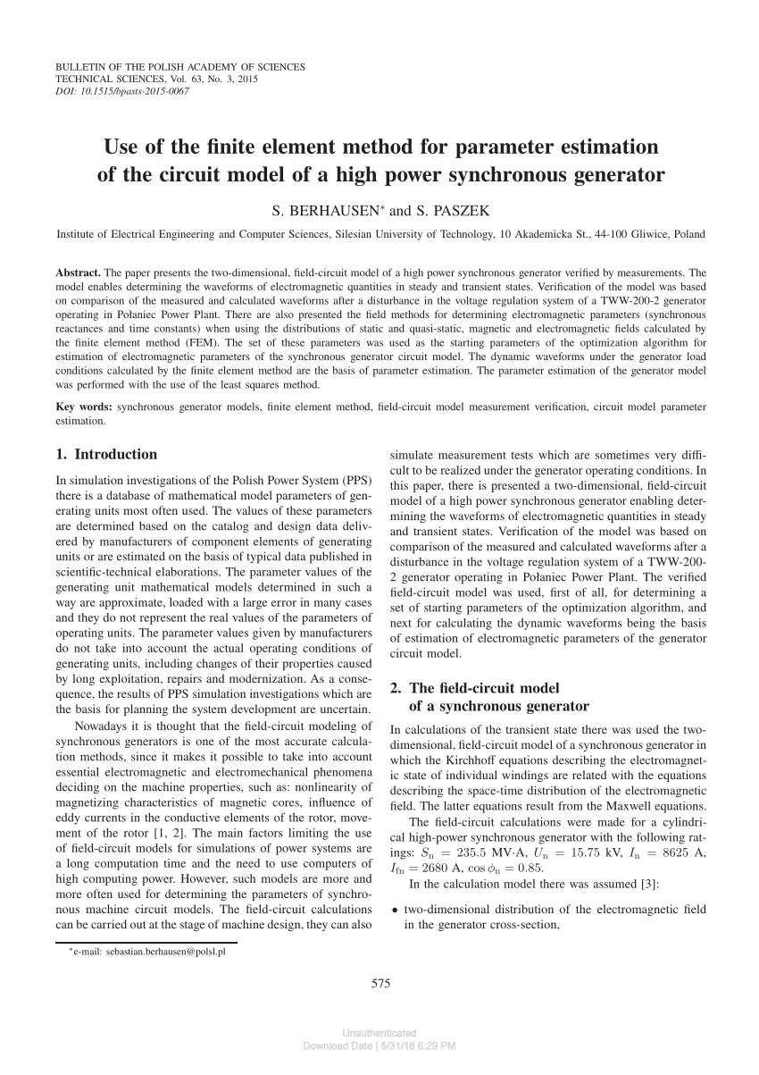 Berhausen Measurement Estimation Of Synchronous Generator Mathematical Model
