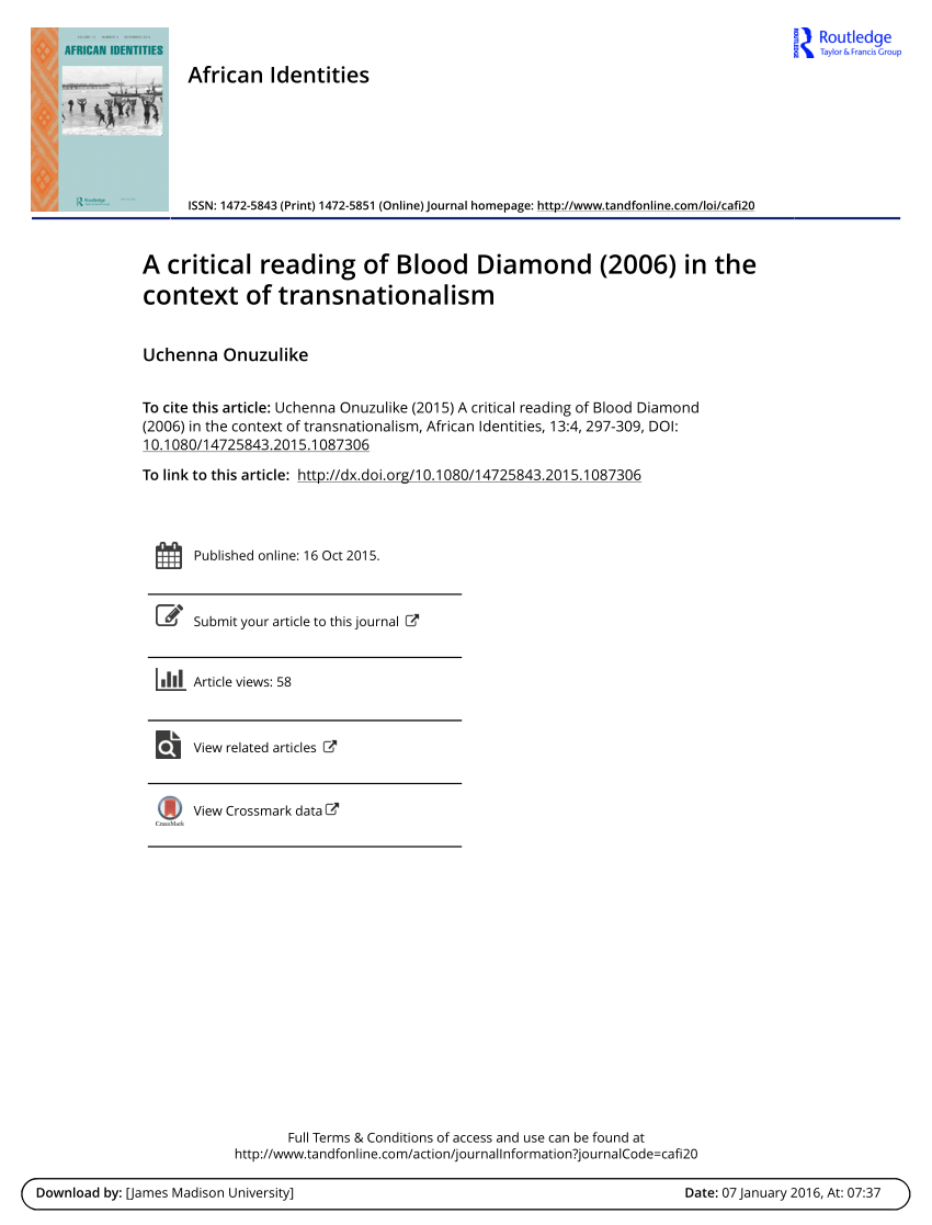 Blood Diamonds Libro Pdf A Critical Reading Of Blood Diamond 2006 In The Context Of