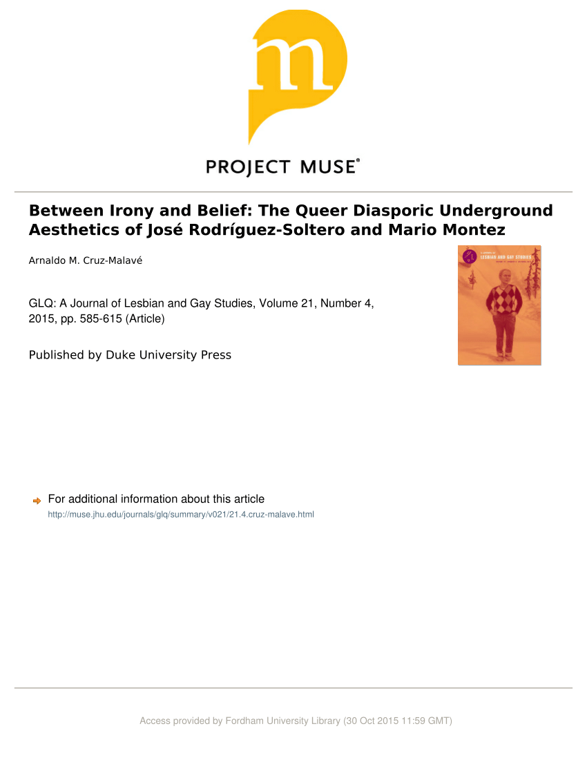 Arte Queer Pdf Pdf Between Irony And Belief The Queer Diasporic Underground