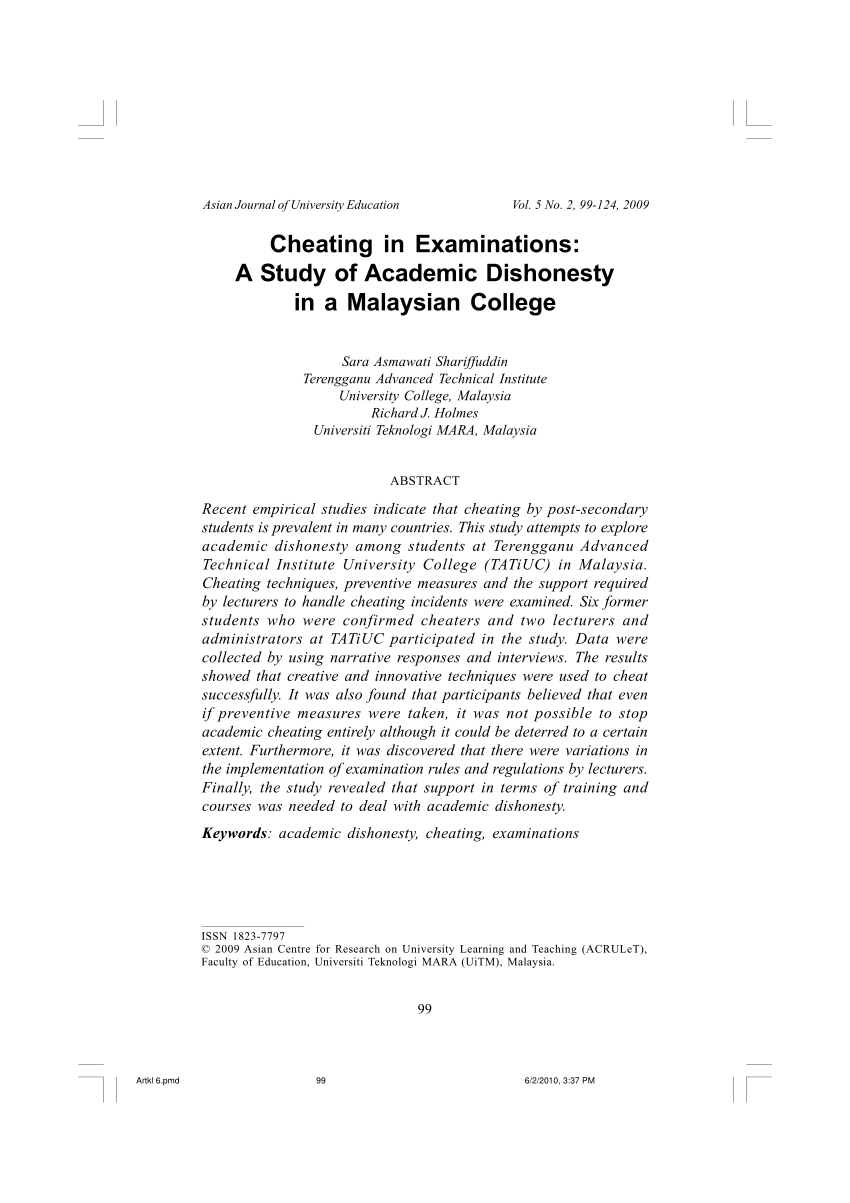 Pdf Cheating In Examinations A Study Of Academic