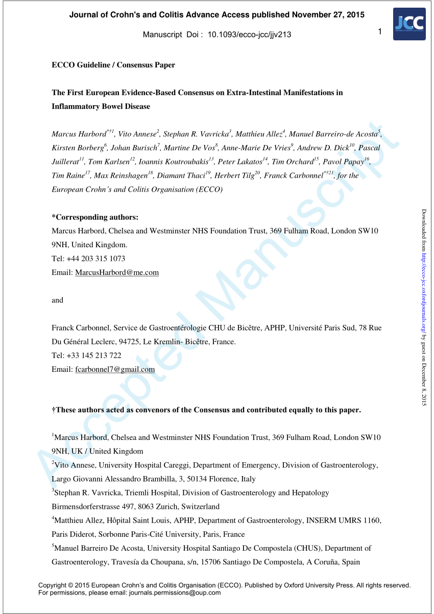 Ecco Lübeck Pdf The First European Evidence Based Consensus On Extra