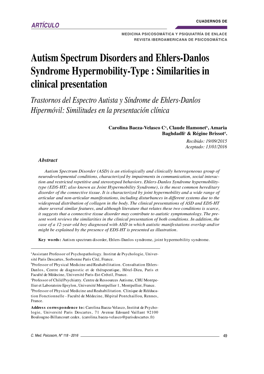 Ehlers Danlos Syndrome Pdf Autism Spectrum Disorders And Ehlers Danlos Syndrome