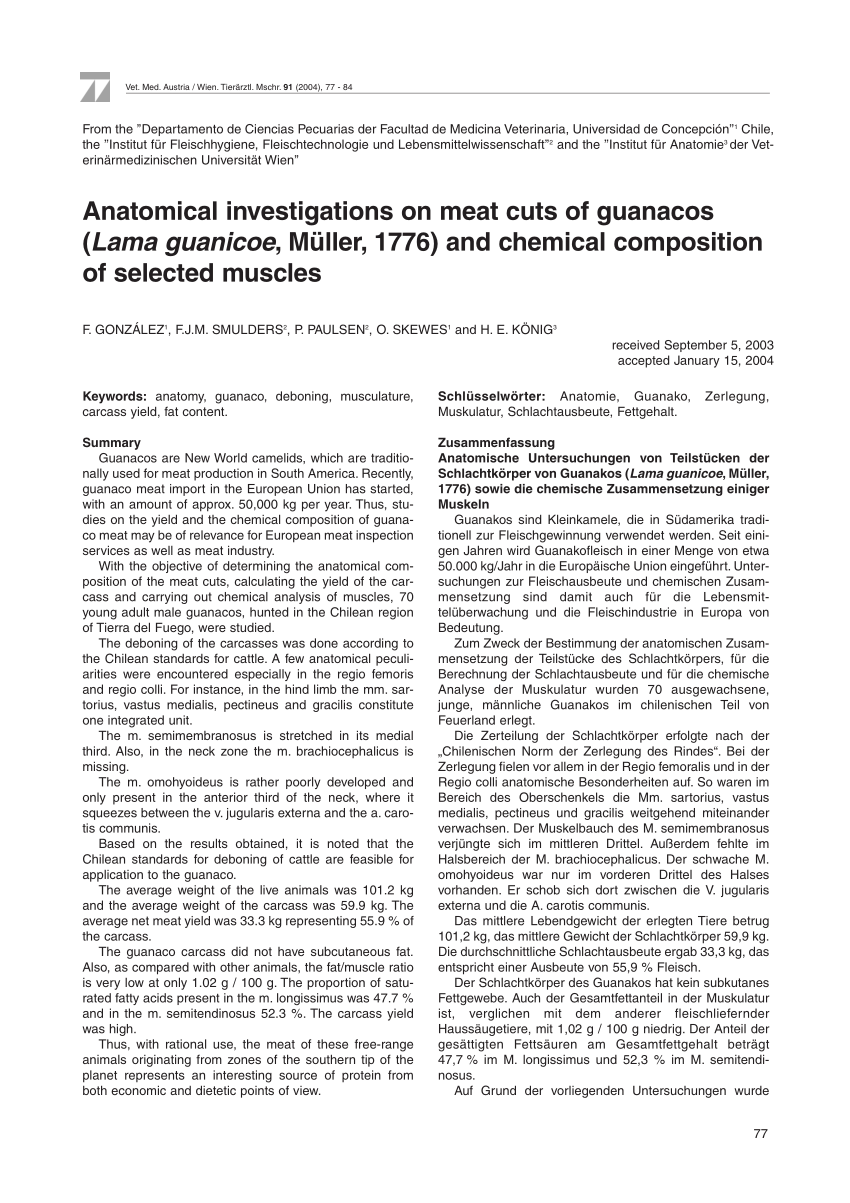 Chilenische Küche Wien Pdf Anatomical Investigations On Meat Cuts Of Guanacos Lama
