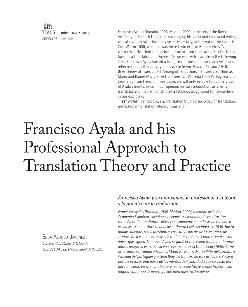 Arte De Vivir Meaning In English Pdf Francisco Ayala And His Professional Approach To Translation