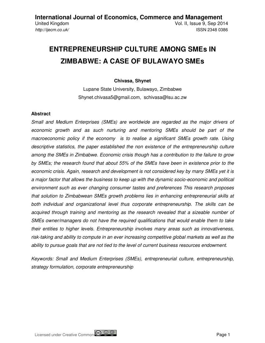 Chambre De Commerce Zimbabwe Pdf The Significance Of Entrepreneurial Culture In The Security