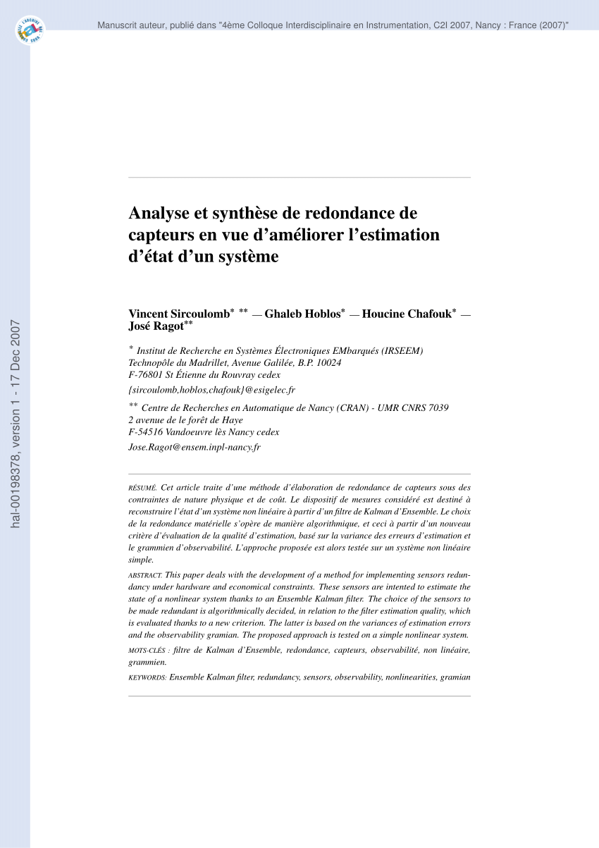 La Foret Estimation Pdf Evaluation Of Estimation Quality With Respect To Sensors Losses