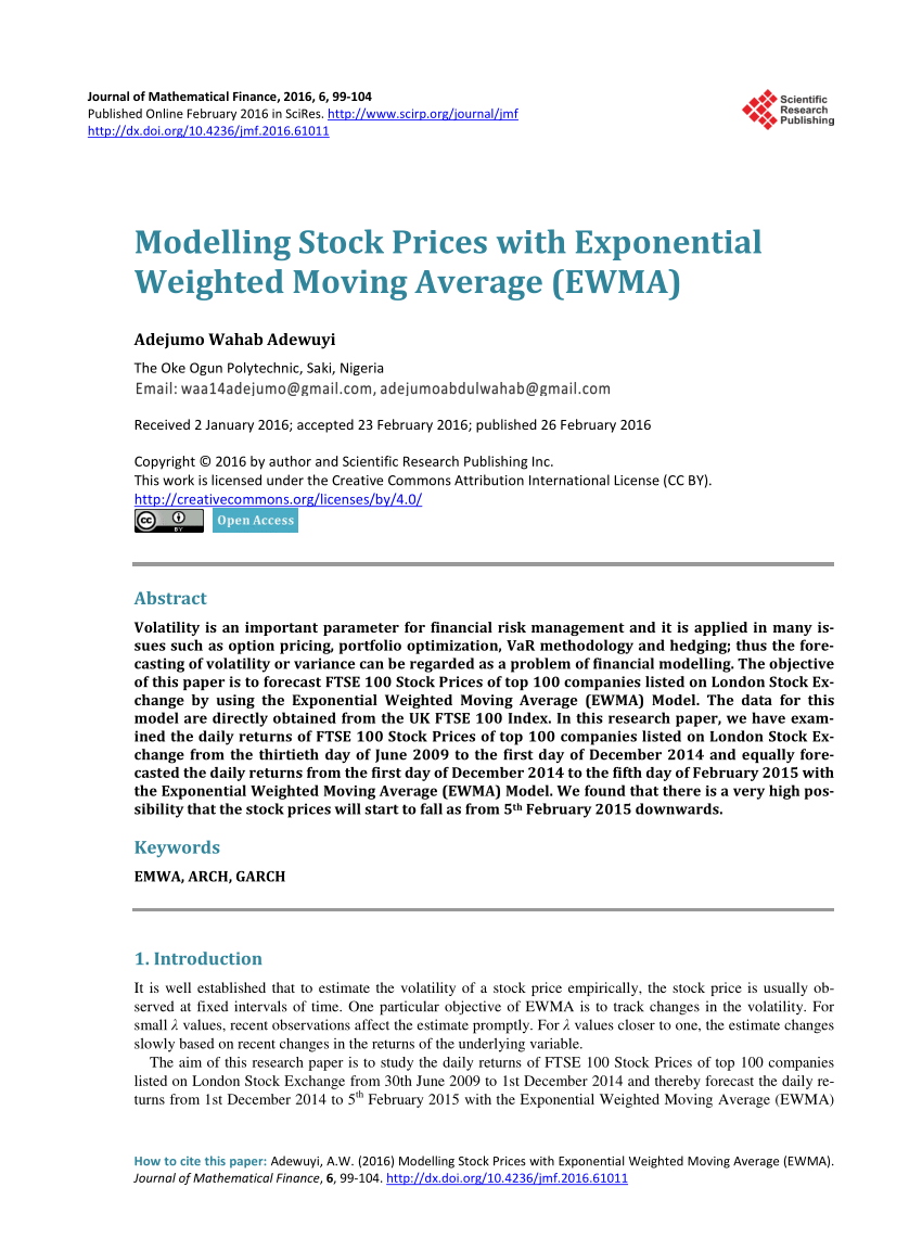 Vba Stock Simulation Pdf Modelling Stock Prices With Exponential Weighted Moving