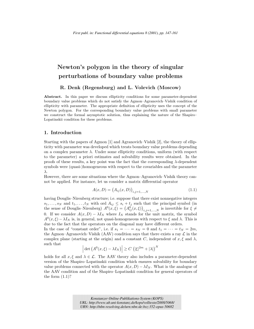 Herbert Denk Gmbh The Newton Polygon And Elliptic Problems With Parameter Request Pdf