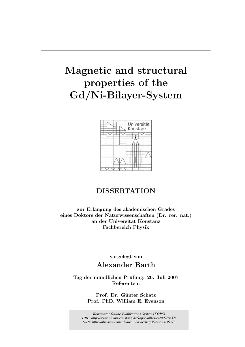 Tische Nach Mass Konstanz Pdf Magnetic And Structural Properties Of The Gd Ni Bilayer System