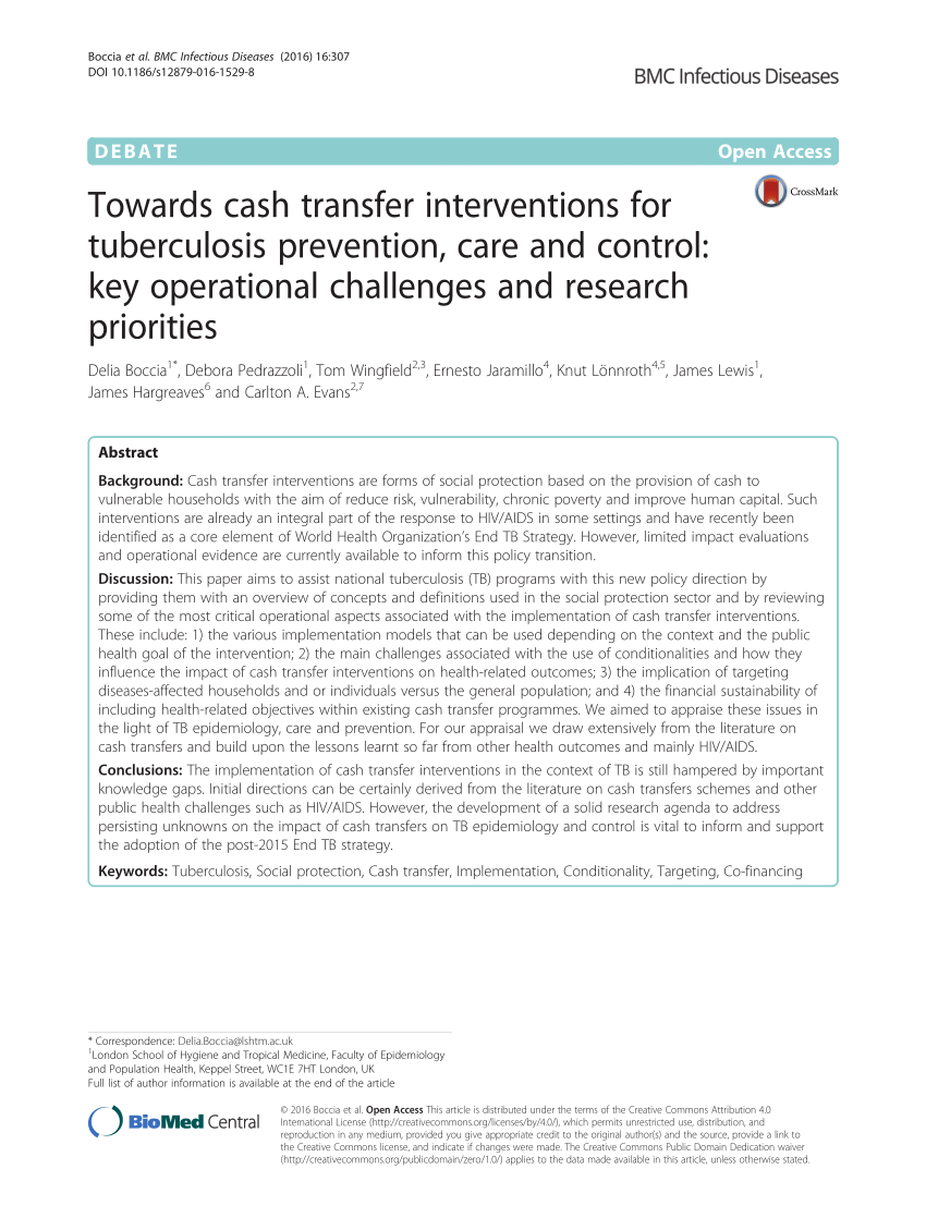 Cash Pool Marl Pdf Towards Cash Transfer Interventions For Tuberculosis