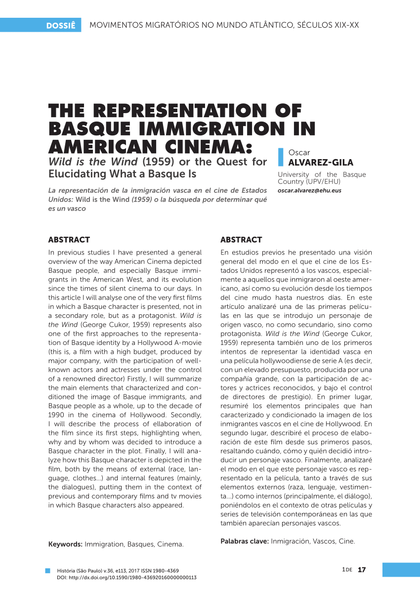 Vasco Cinema Pdf The Representation Of Basque Immigration In American Cinema