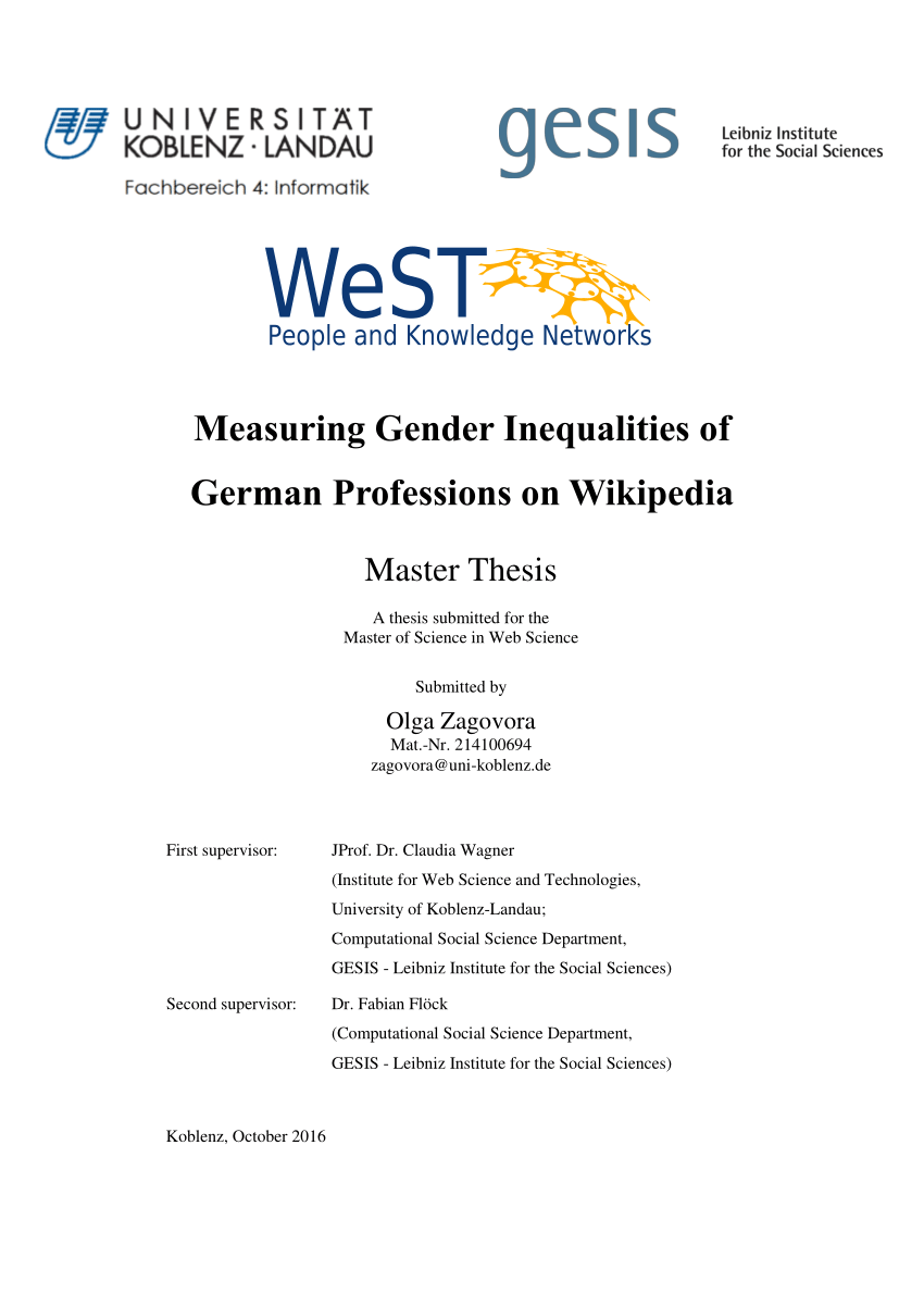Arbeitsagentur Indeed Pdf Measuring Gender Inequalities Of German Professions On Wikipedia
