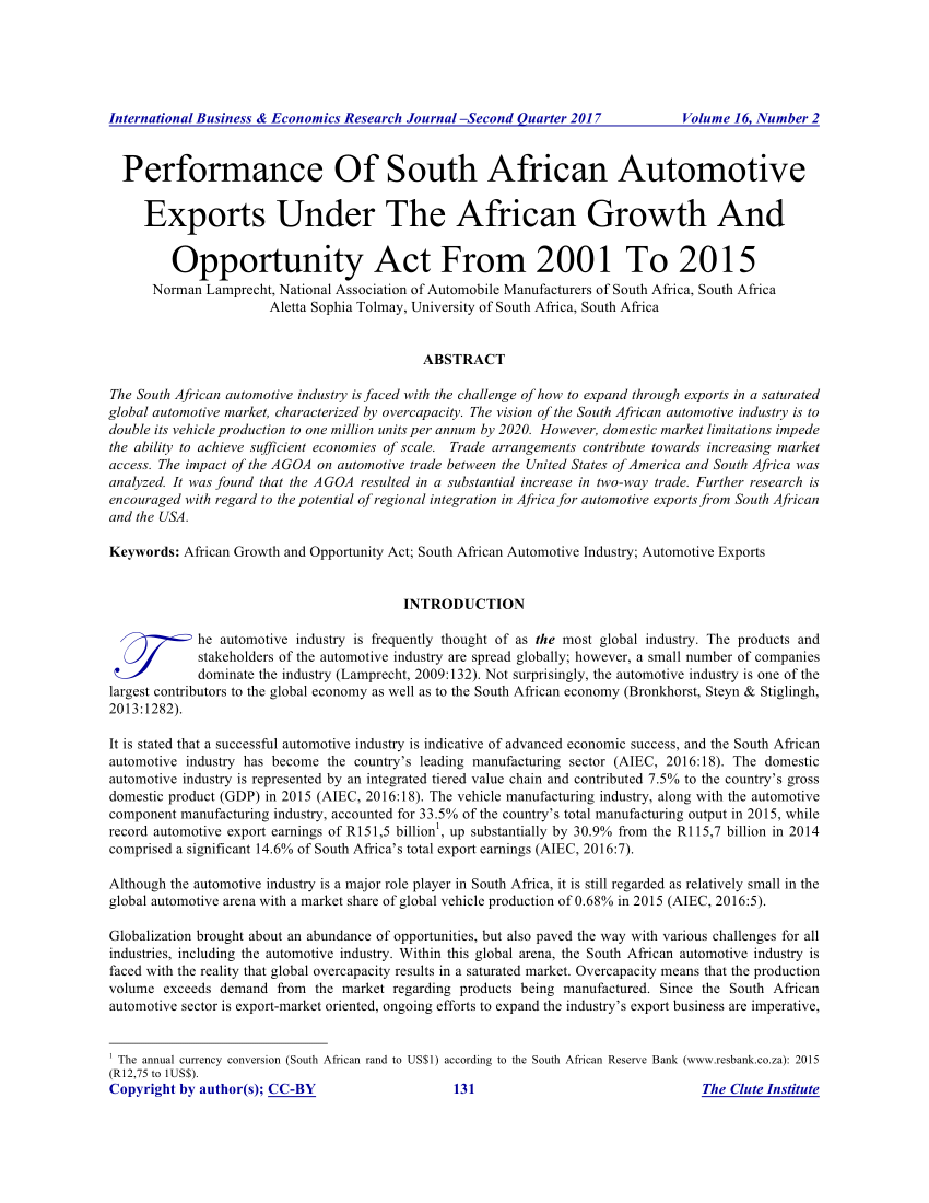 Car Manufacturers In South Africa Pdf Performance Of South African Automotive Exports Under
