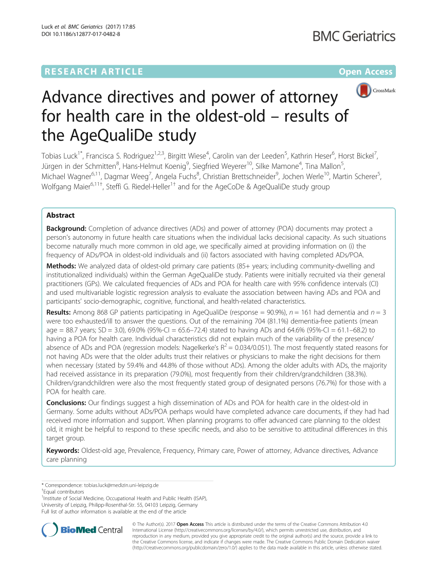 Gfk Pool Leipzig Pdf Advance Directives And Power Of Attorney For Health Care In