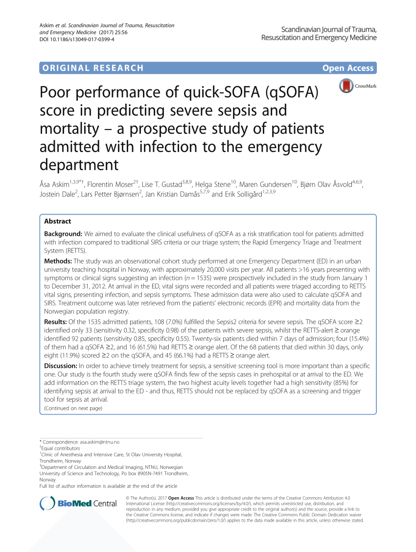 Qsofa Infection Pdf Poor Performance Of Quick Sofa Qsofa Score In Predicting