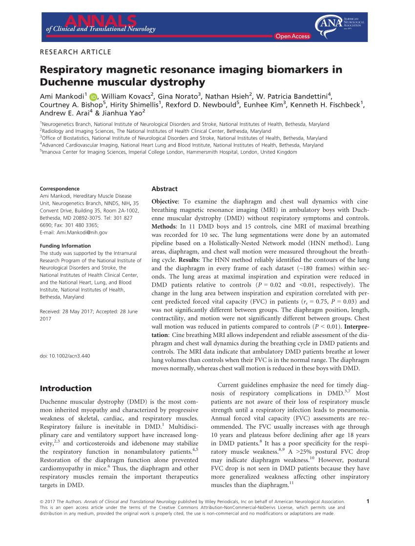 Duchenne Muscular Dystrophy Nih Pdf Respiratory Magnetic Resonance Imaging Biomarkers In Duchenne
