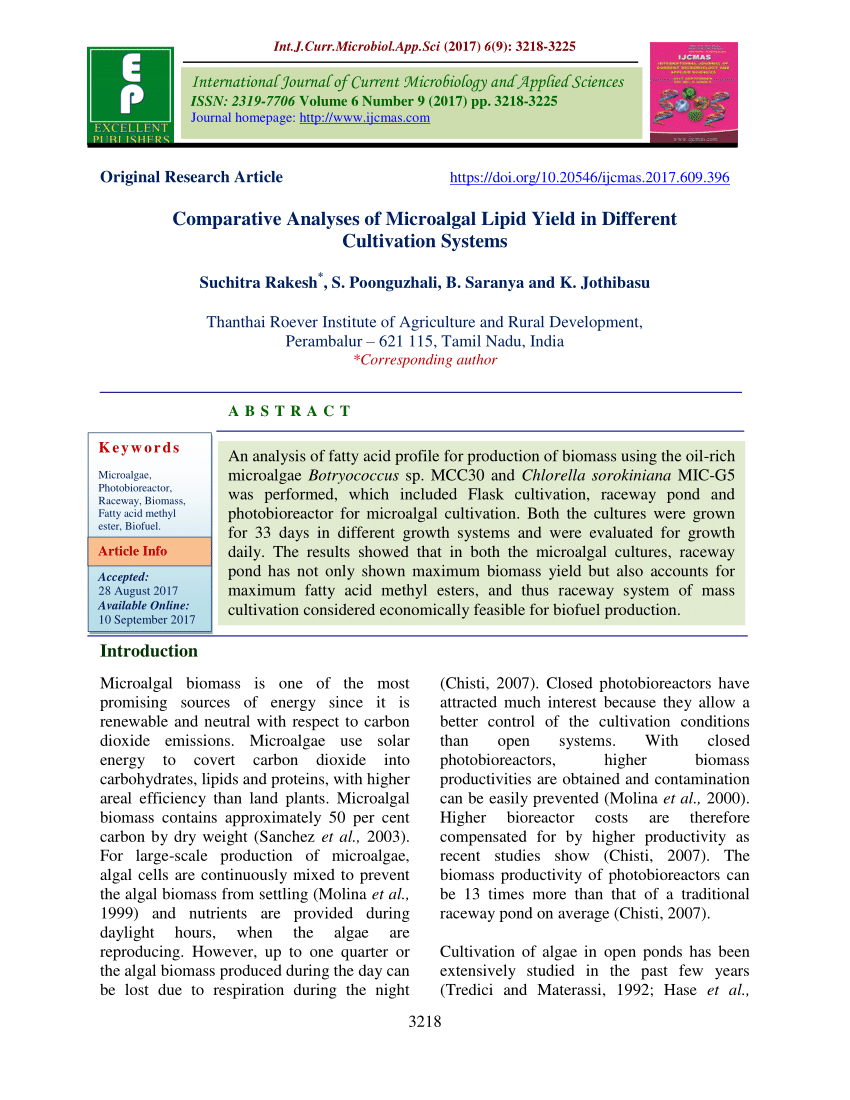 Materassi Vitha Group Pdf Comparative Analyses Of Microalgal Lipid Yield In Different