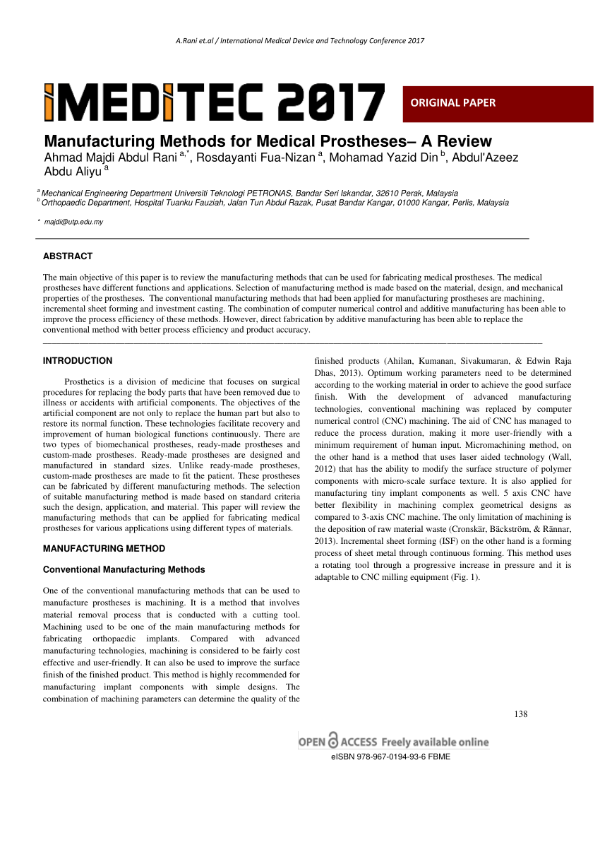 Manufacturing Methods Pdf Manufacturing Methods For Medical Prostheses A Review