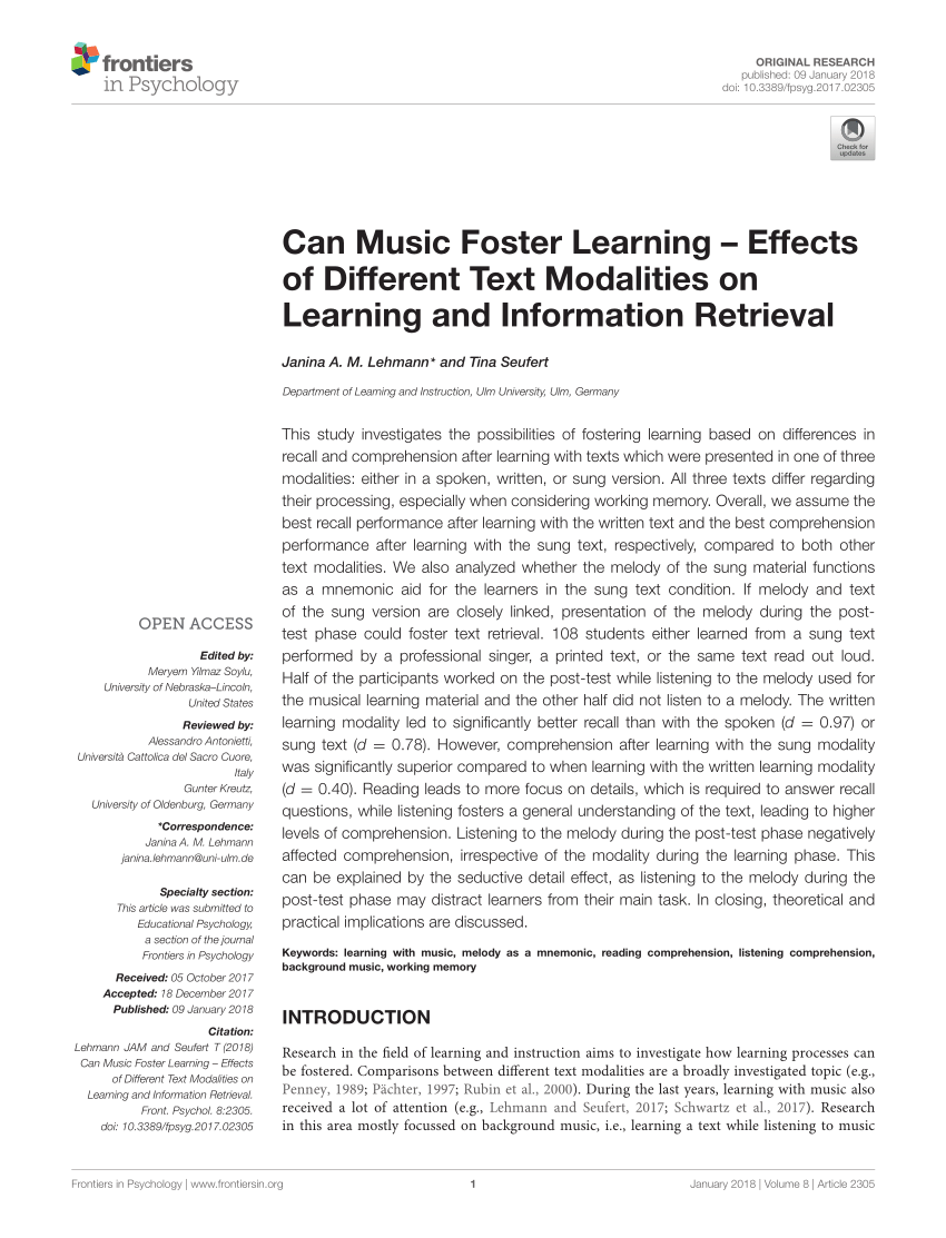 Lehmanns Ulm Pdf Can Music Foster Learning Effects Of Different Text