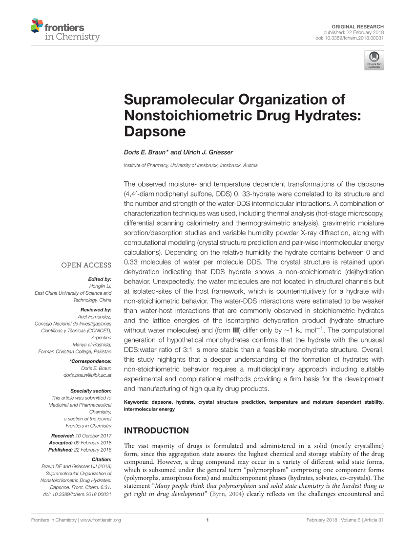 Store Banne Griesser Solvatomorphism Of The Antibacterial Dapsone X Ray Structures And