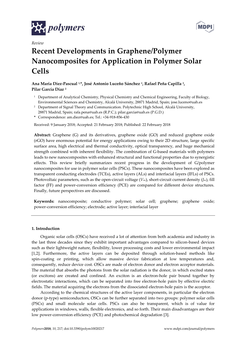 Ruoff Solar Pdf Recent Developments In Graphene Polymer Nanocomposites For