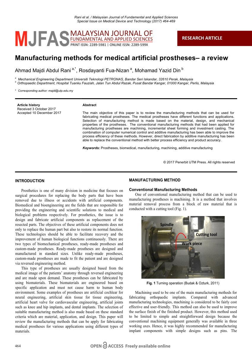 Manufacturing Methods Pdf Manufacturing Methods For Medical Artificial Prostheses A Review