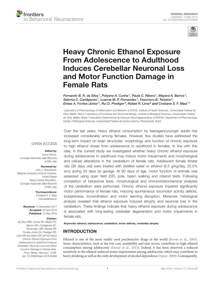 Carl Prediger Pdf Heavy Chronic Ethanol Exposure From Adolescence To Adulthood