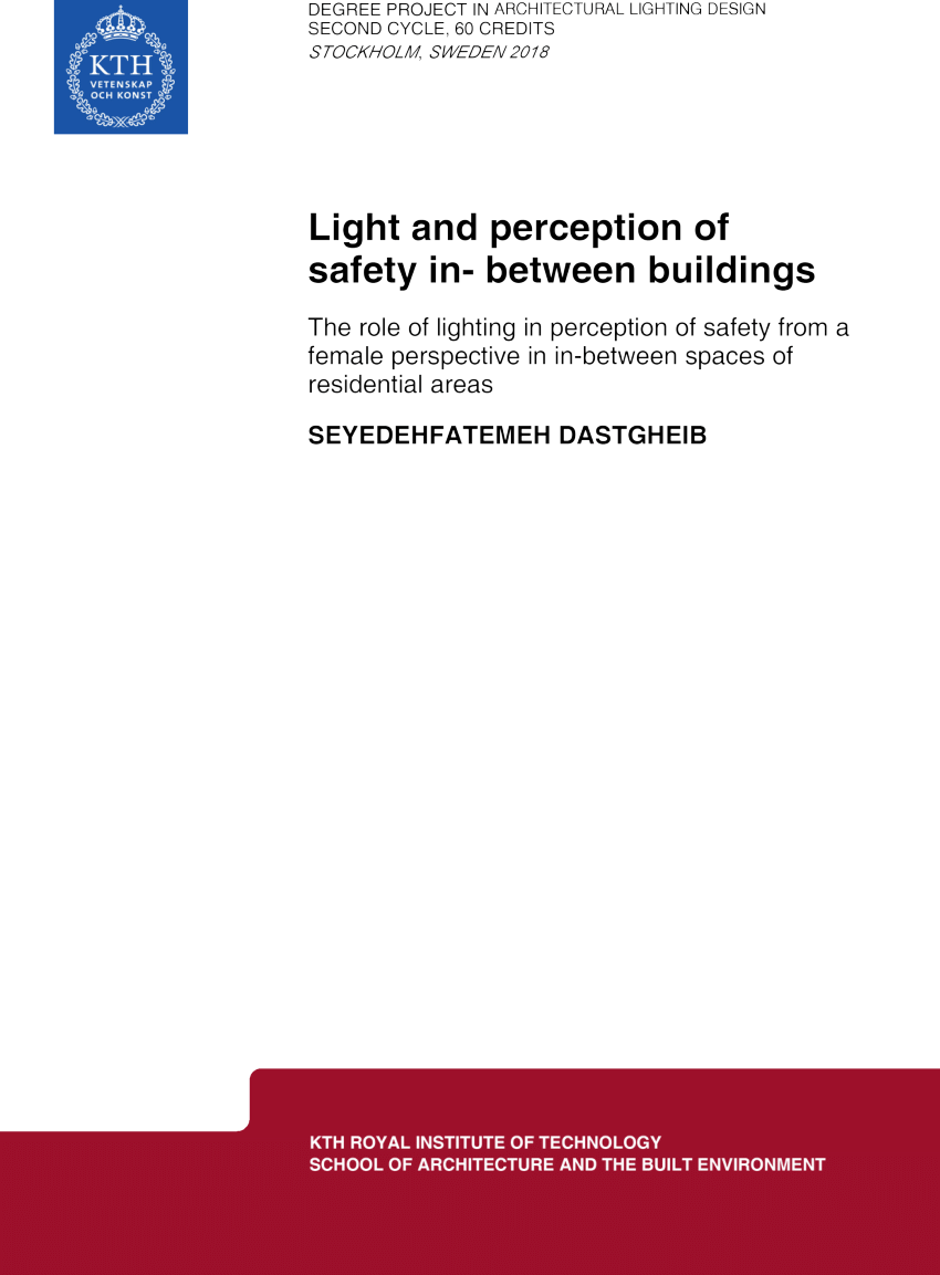 Lighting Design Kth Pdf Light And Perception Of Safety In Between Buildings The