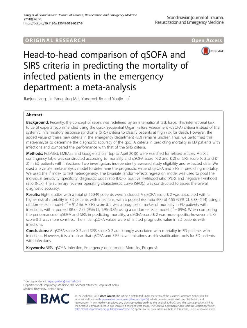 Qsofa Meta Analysis Pdf Head To Head Comparison Of Qsofa And Sirs Criteria In