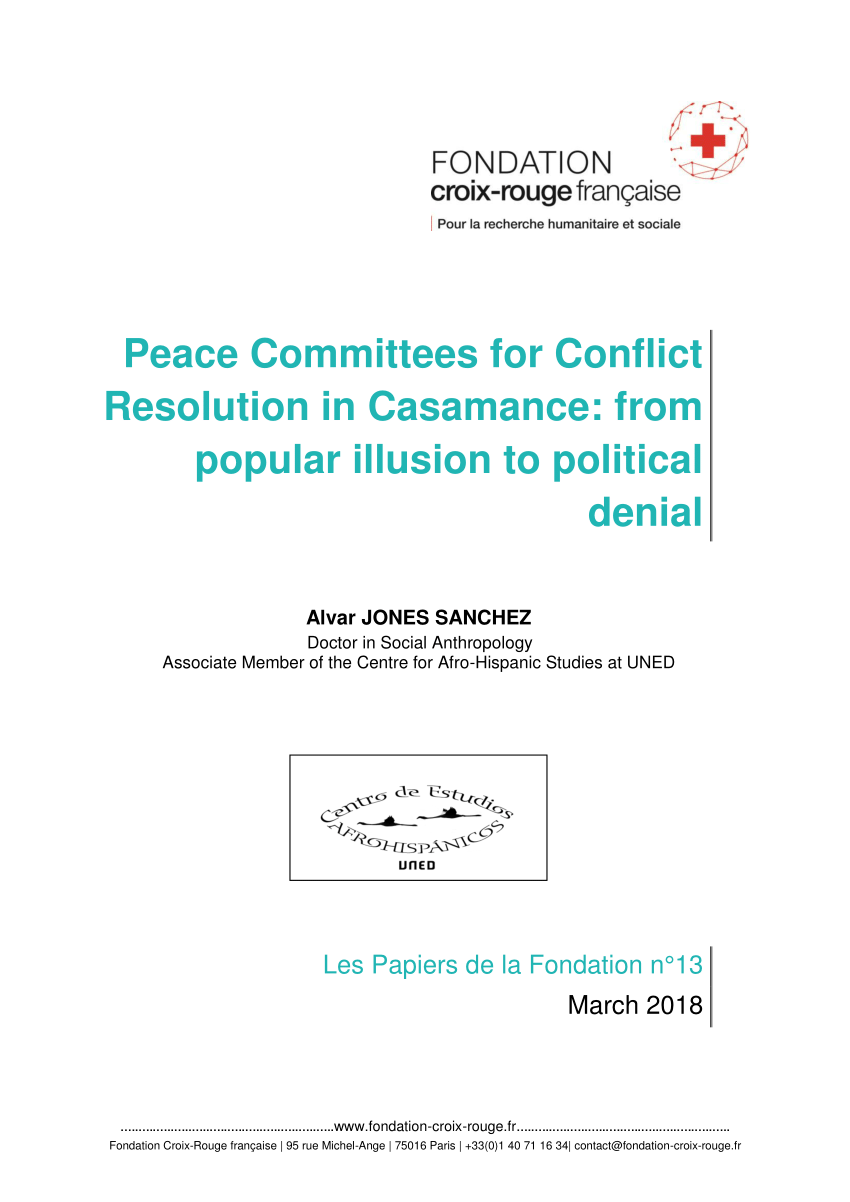 Croix Rouge Paris 13 Pdf Peace Committees For Conflict Resolution In Casamance From