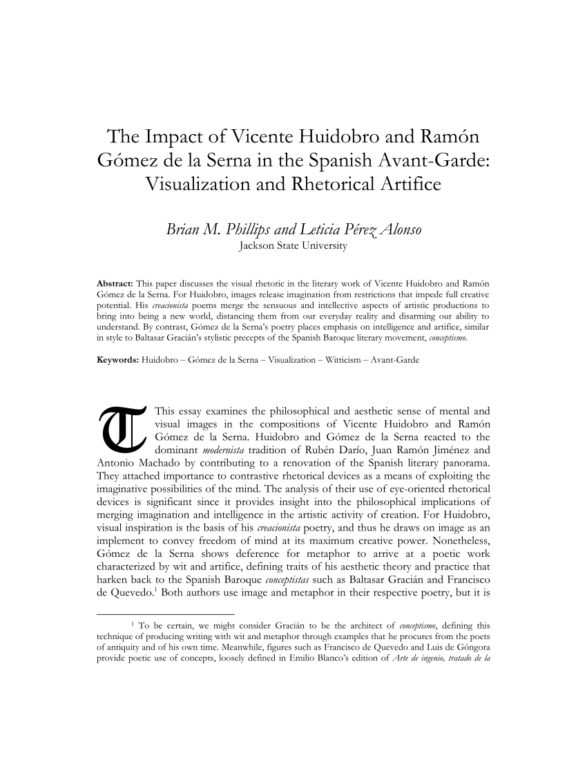 Arte Nuevo Meaning Pdf The Impact Of Vicente Huidobro And Ramón Gómez De La Serna In