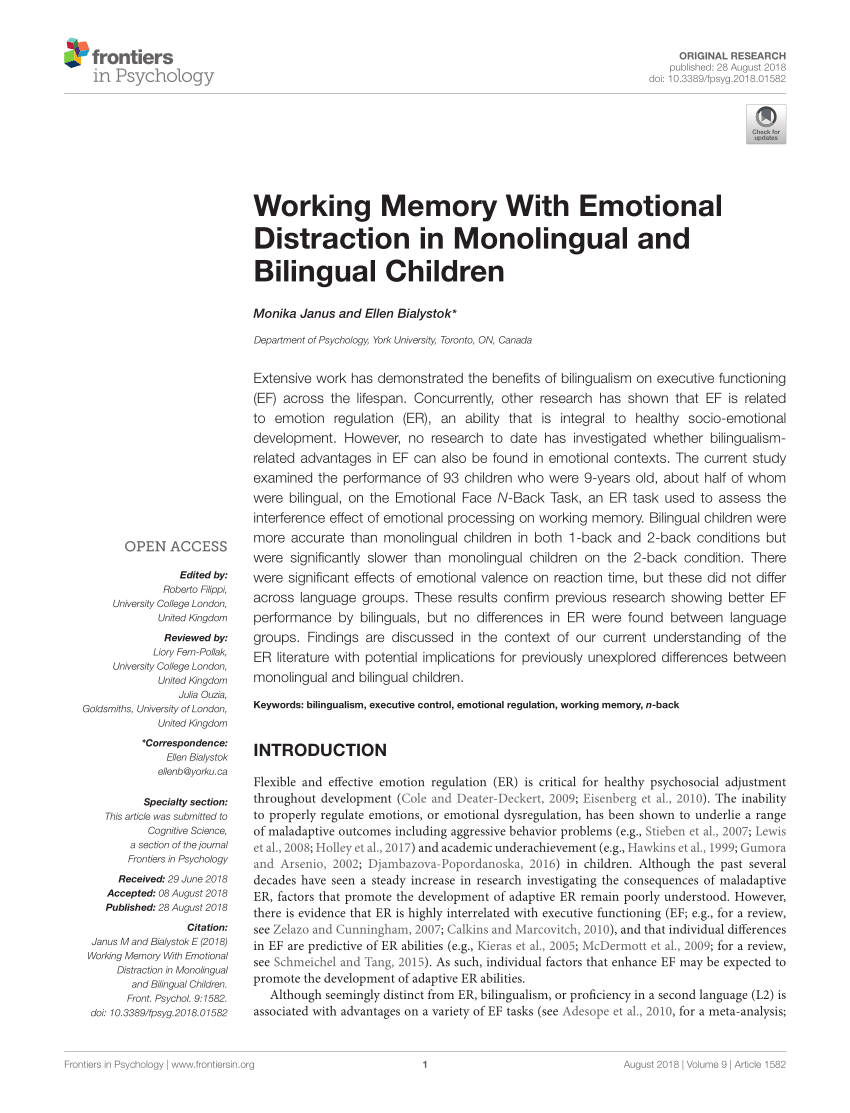 Kettler Julia Rt Pdf Working Memory With Emotional Distraction In Monolingual And