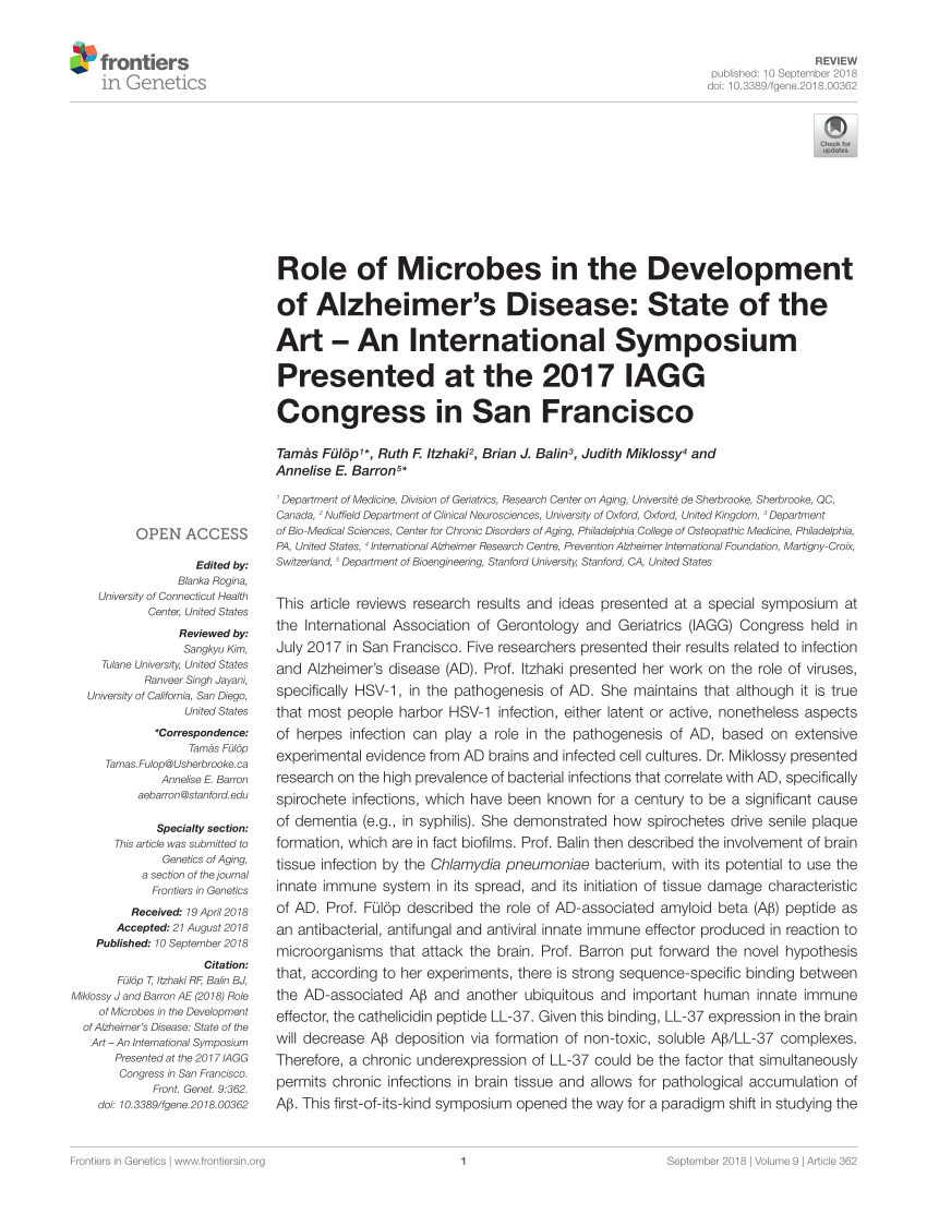 (PDF) Amyloid, tau, pathogen infection and antimicrobial protection in Alzheimer\u0027s disease \u2013conformist, nonconformist, and realistic prospects for AD ...