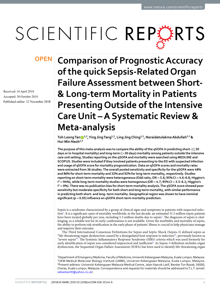Difference Between Qsofa And Sofa Predictive Performance Of Qsofa For Mortality And Icu Admission In