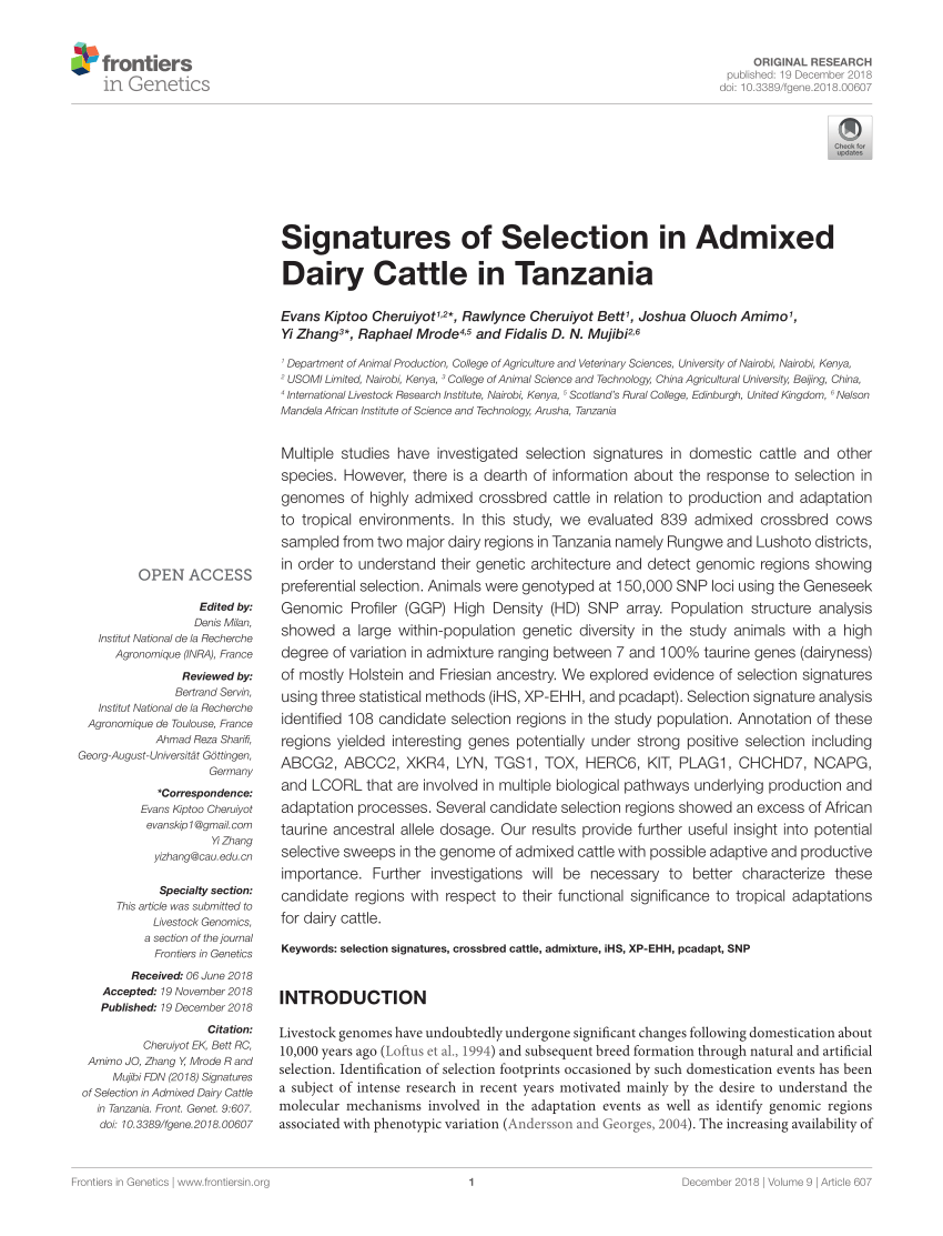Bett Lindholm Pdf Signatures Of Selection In Admixed Dairy Cattle In Tanzania